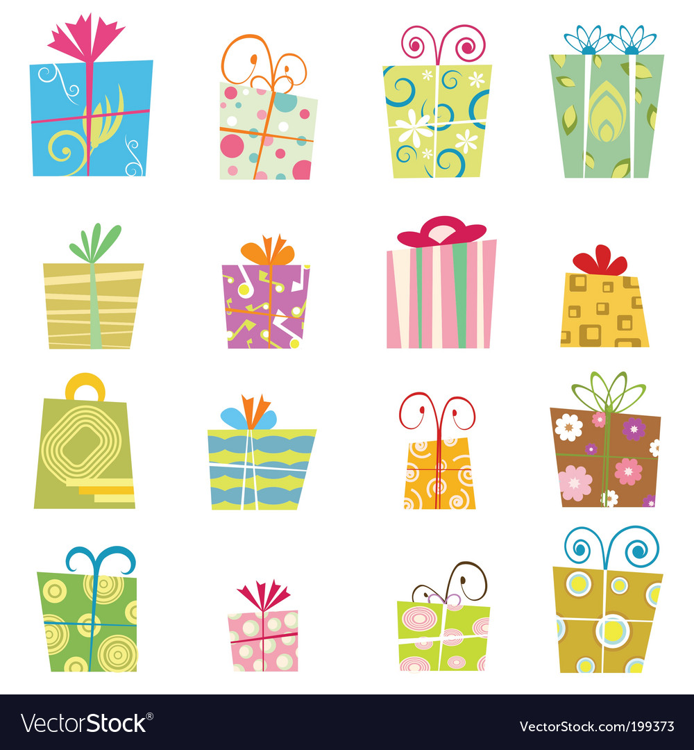 Cute Gift Boxes Royalty Free Vector Image Vectorstock