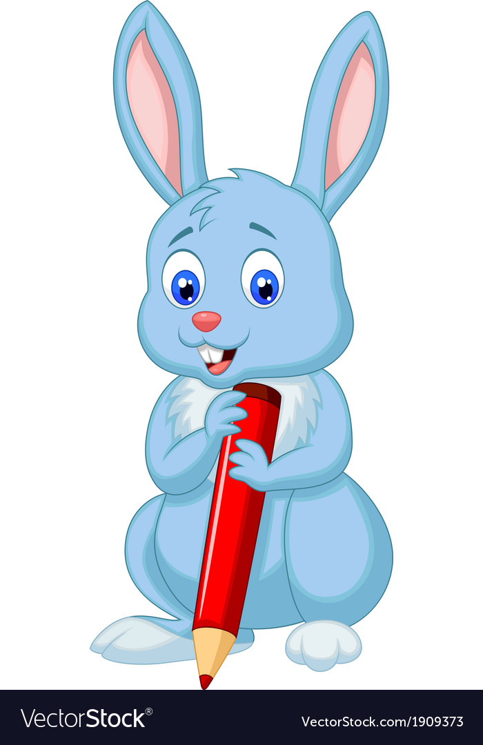 Cute rabbit cartoon holding red pencil vector image
