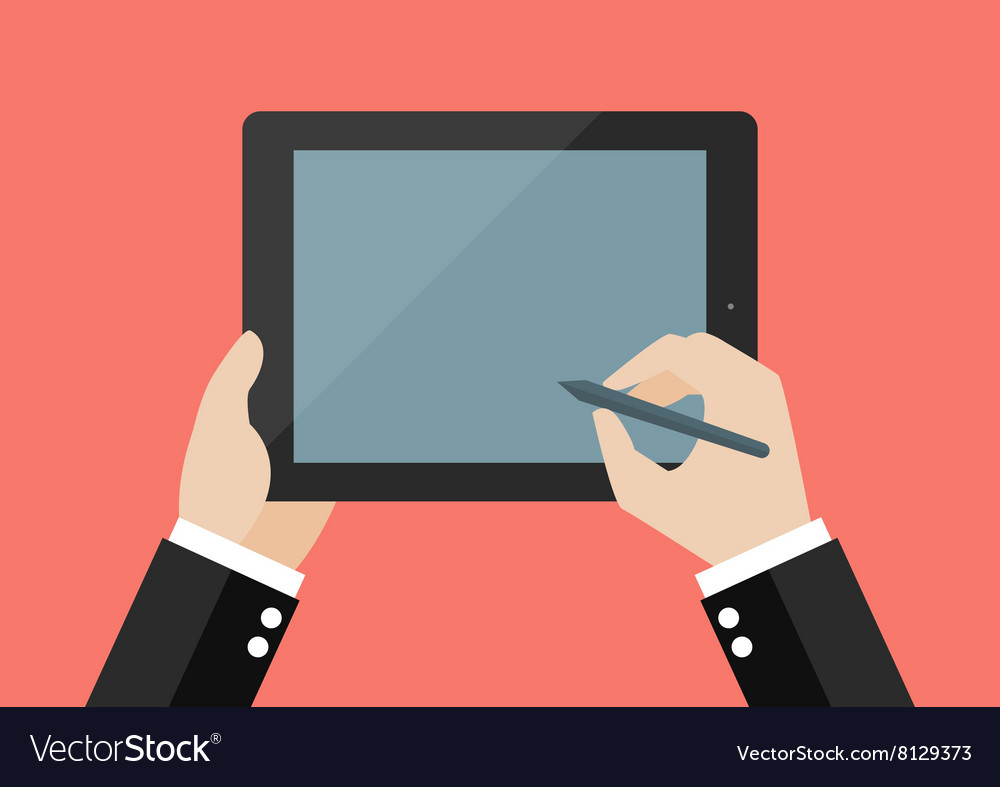 Hand writing on blank screen of tablet