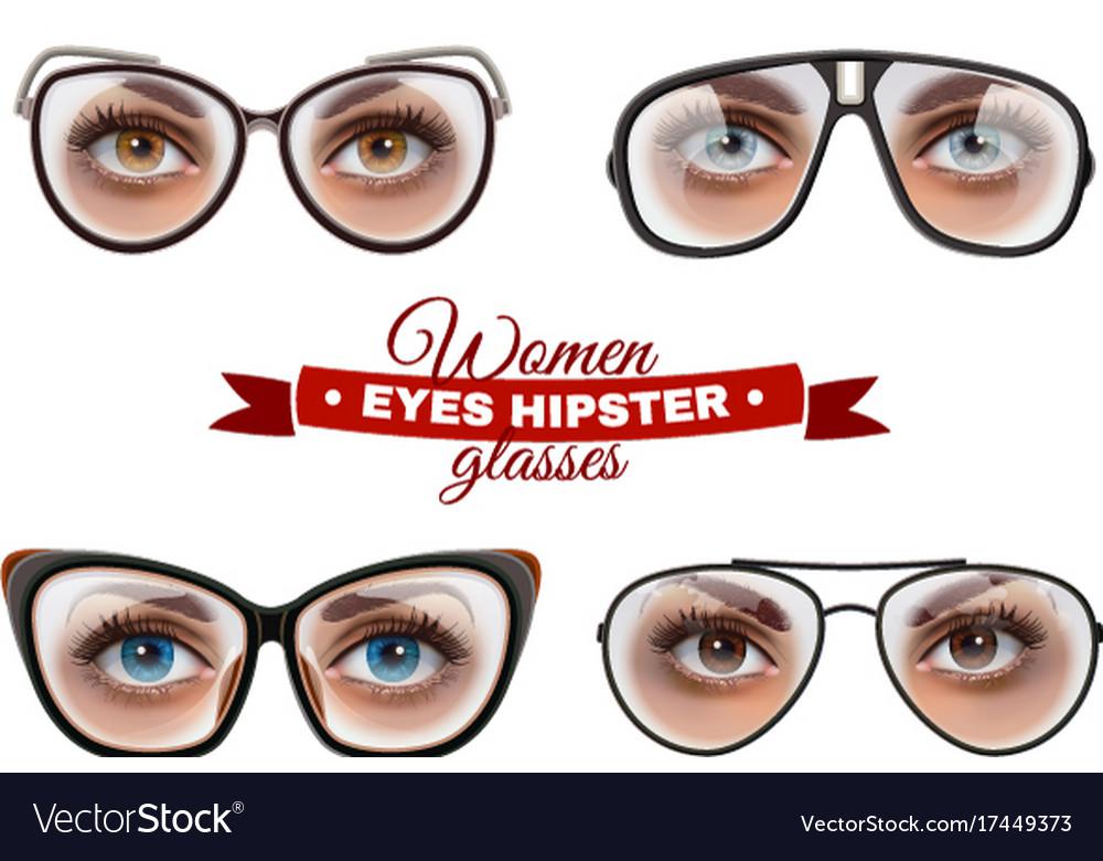 Hipster women glasses set