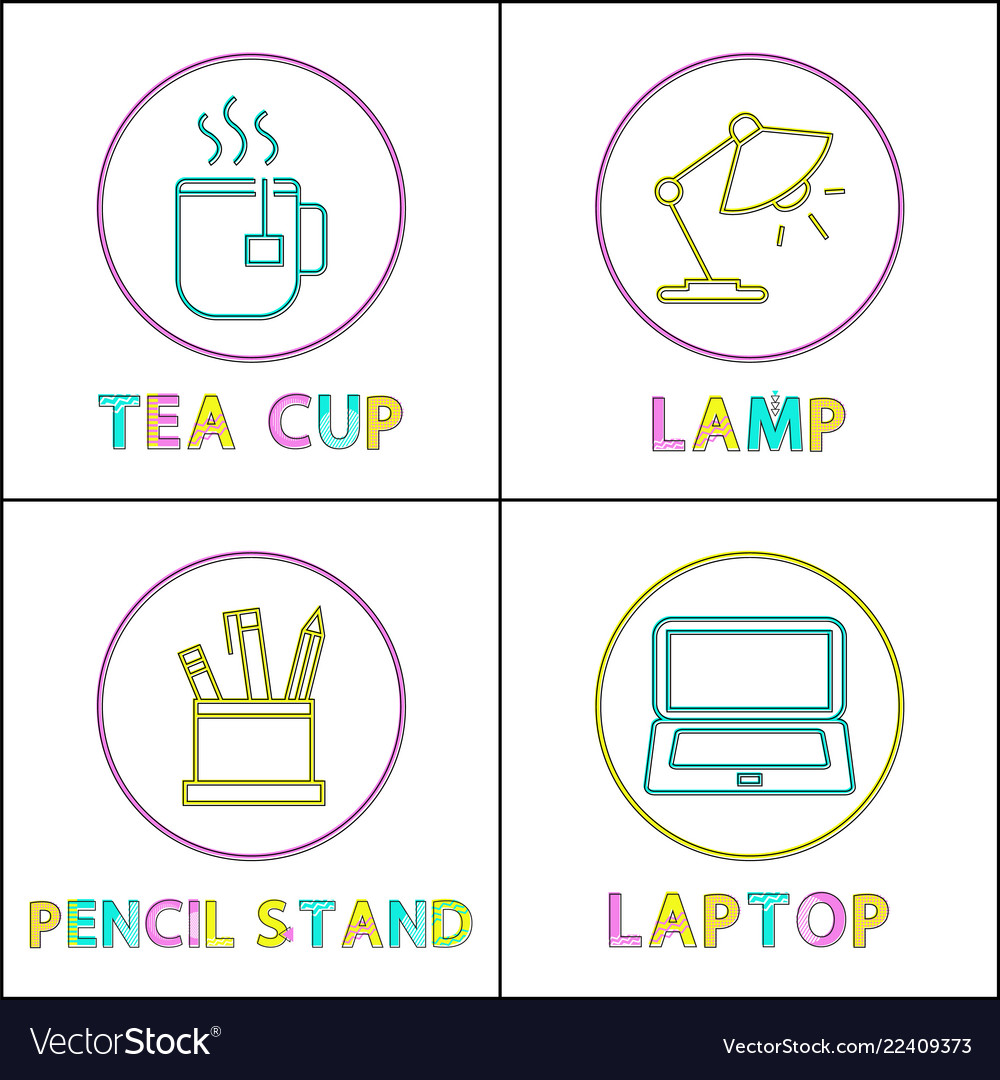 Office equipment round linear icons templates set