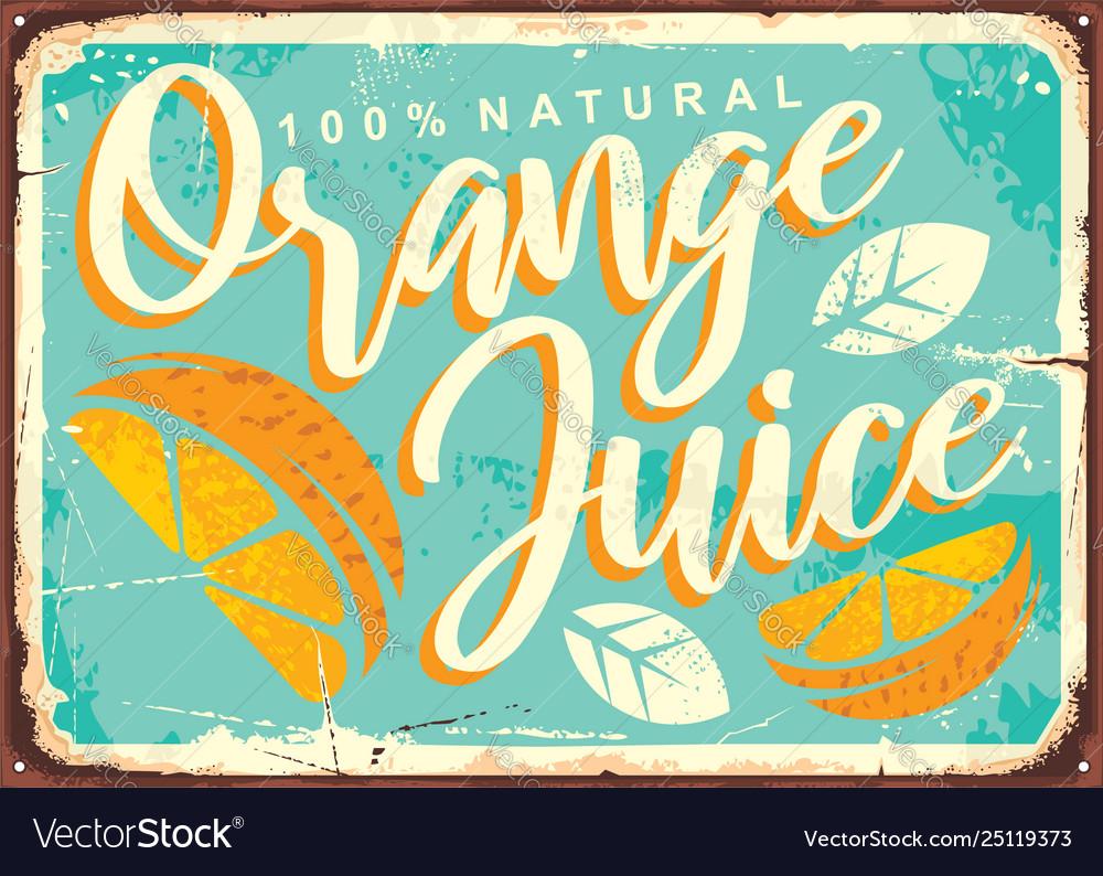 Orange juice retro tin sign