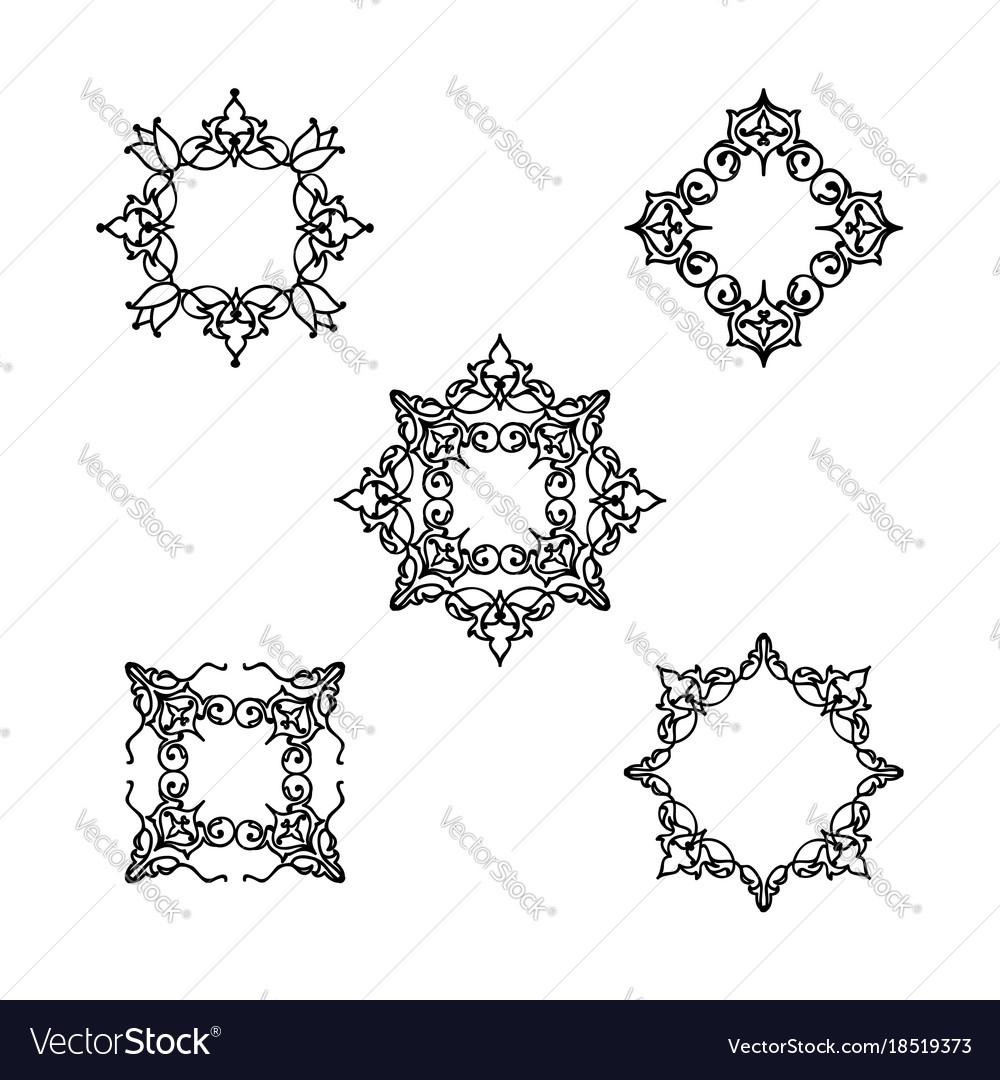 Ornamental line floral pattern set flower frame