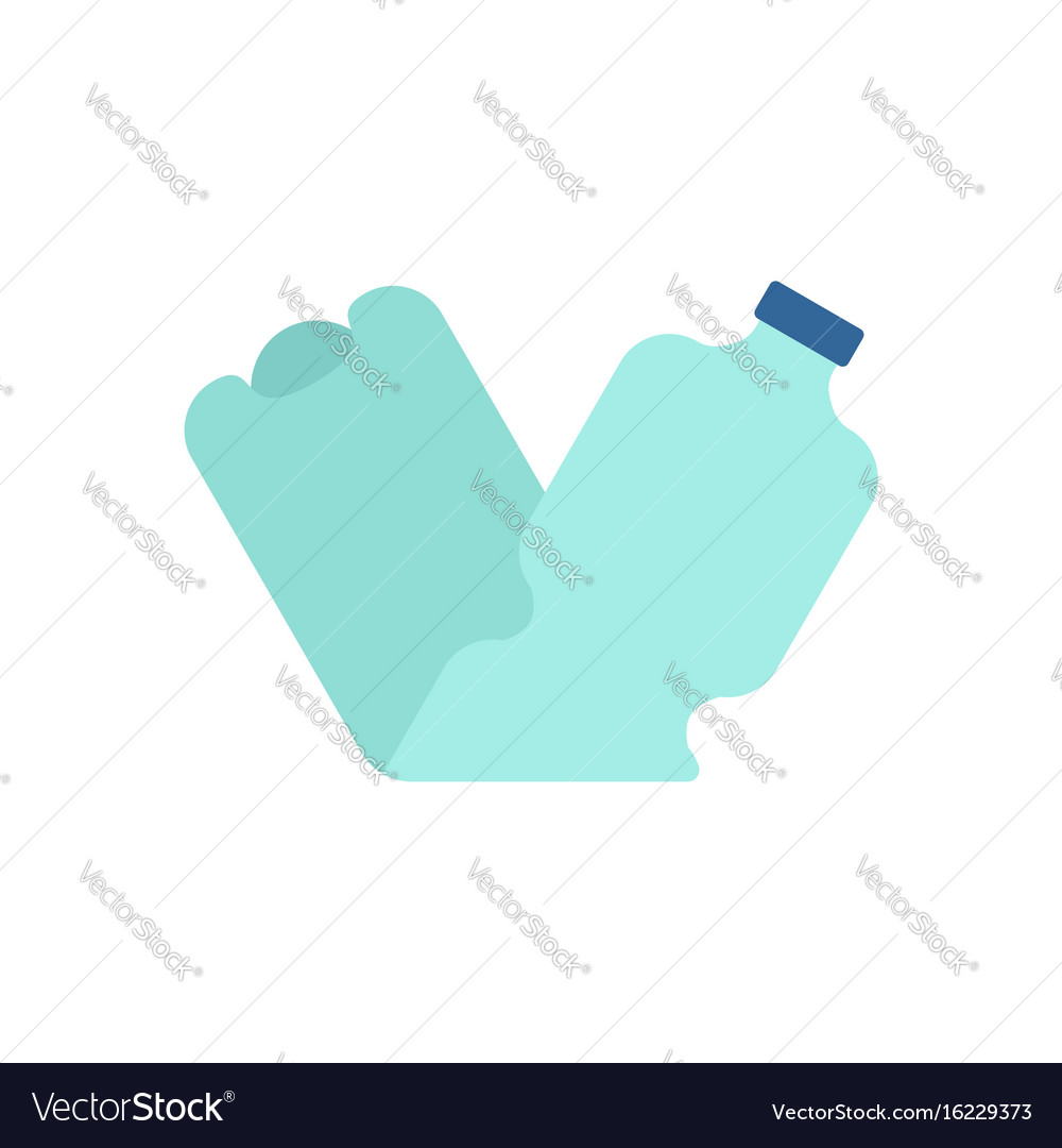 Plastic bottle crushed garbage isolated rubbish vector image