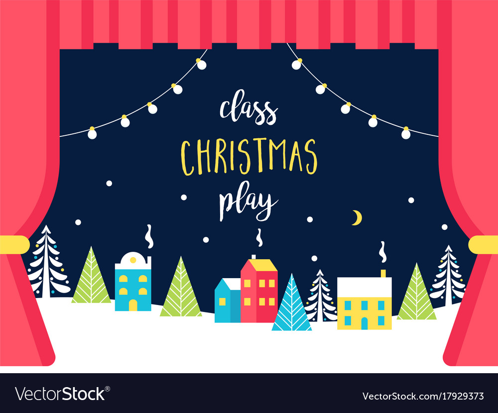 School or theatre stage decorations for christmas