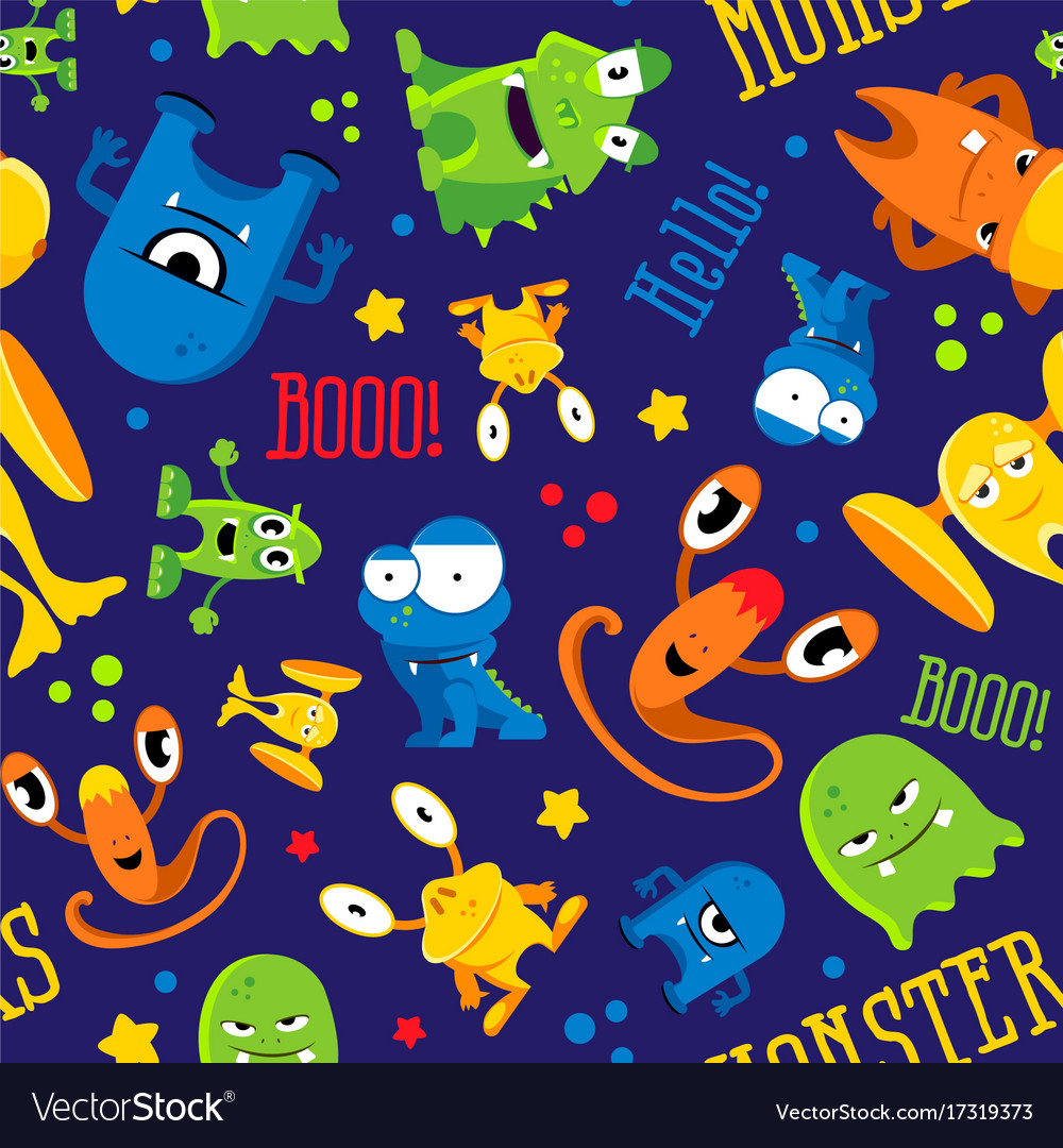 Seamless cute pattern made with monsters bubbles