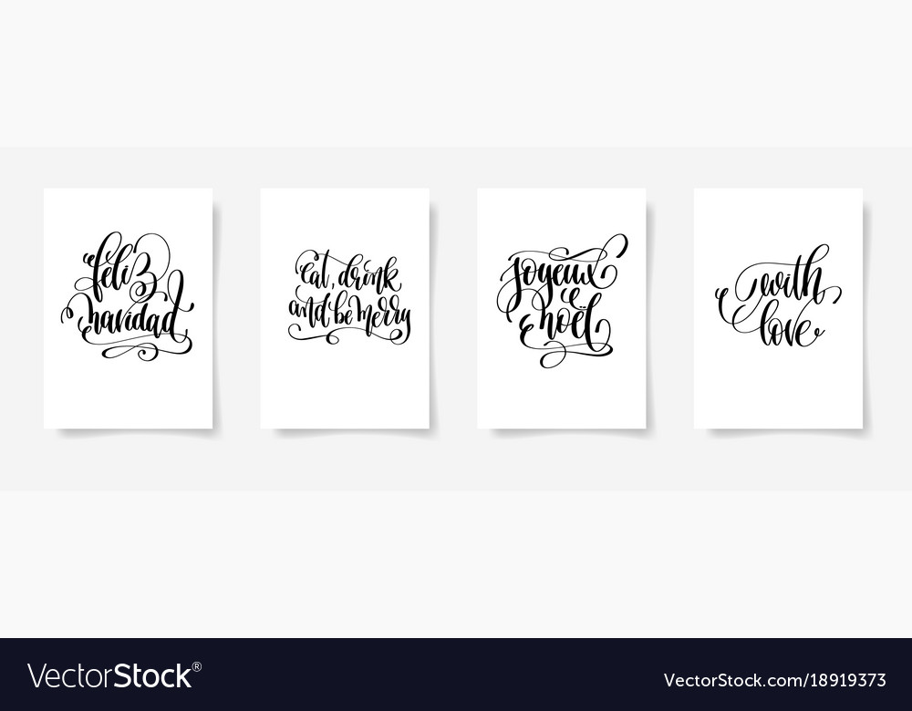 Set of 4 hand lettering posters on a white
