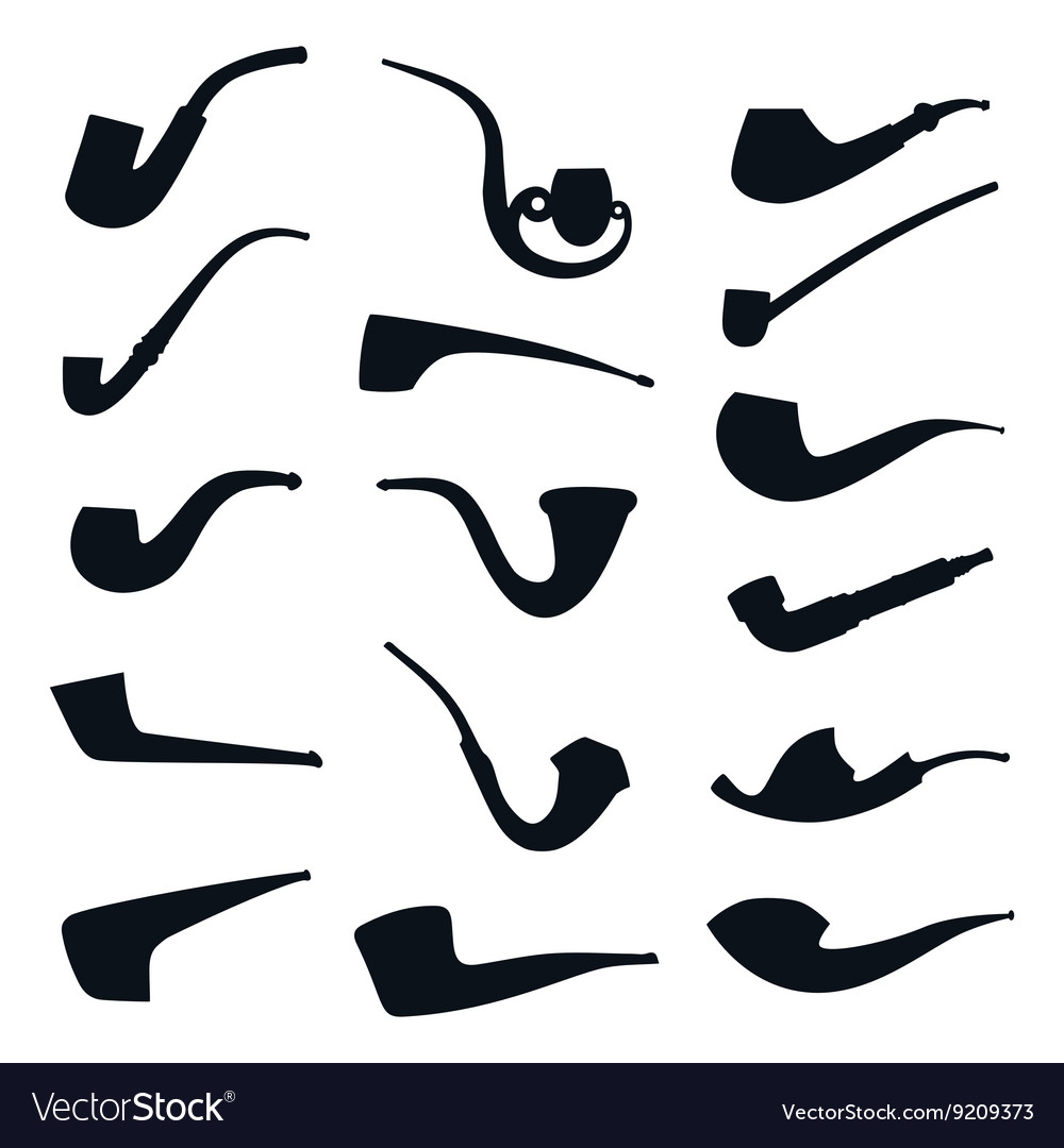 Set of tobacco pipes collection silhouette icons