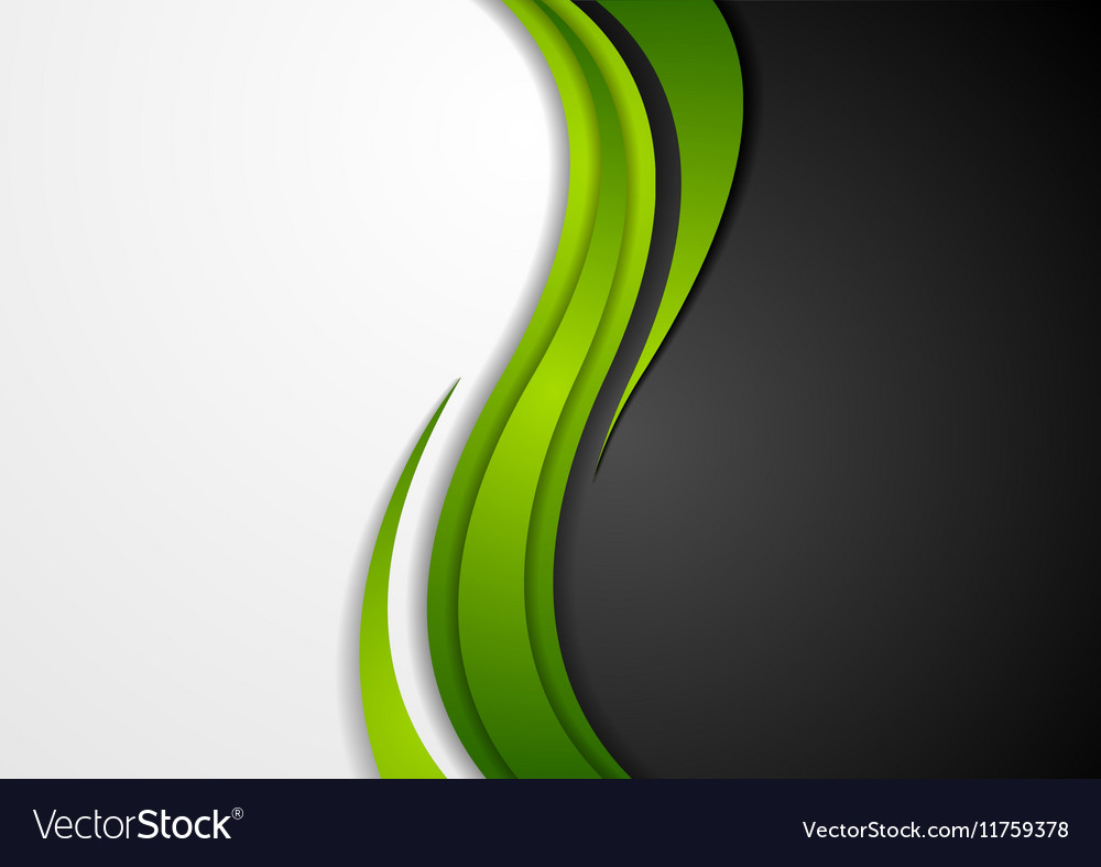 Abstract green black grey wavy background