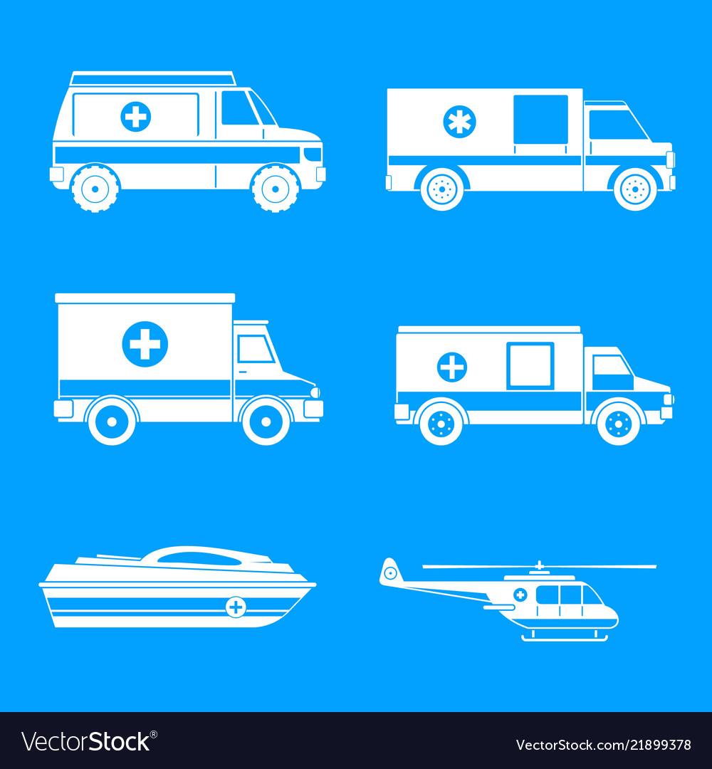 Ambulance transport icons set simple style