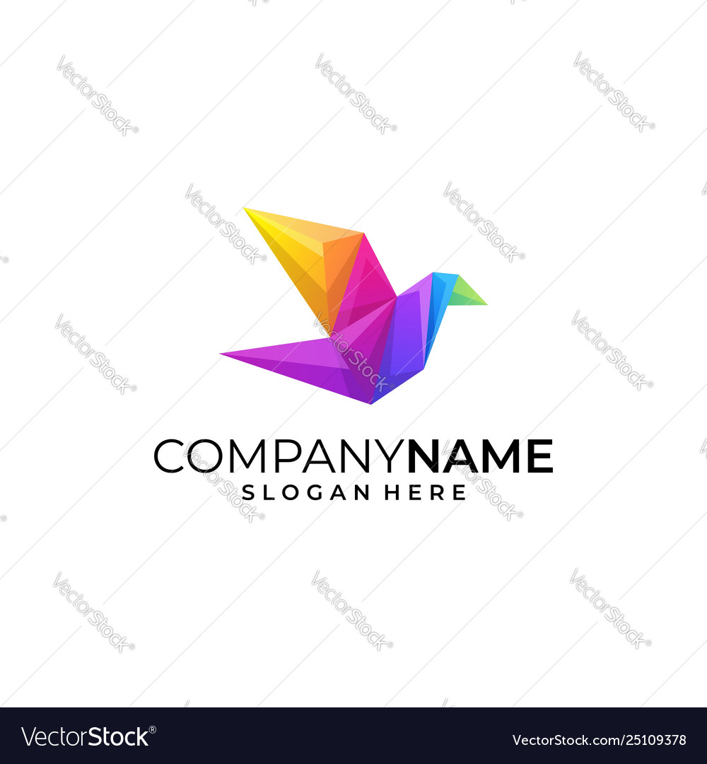 Bird colorful conception design template