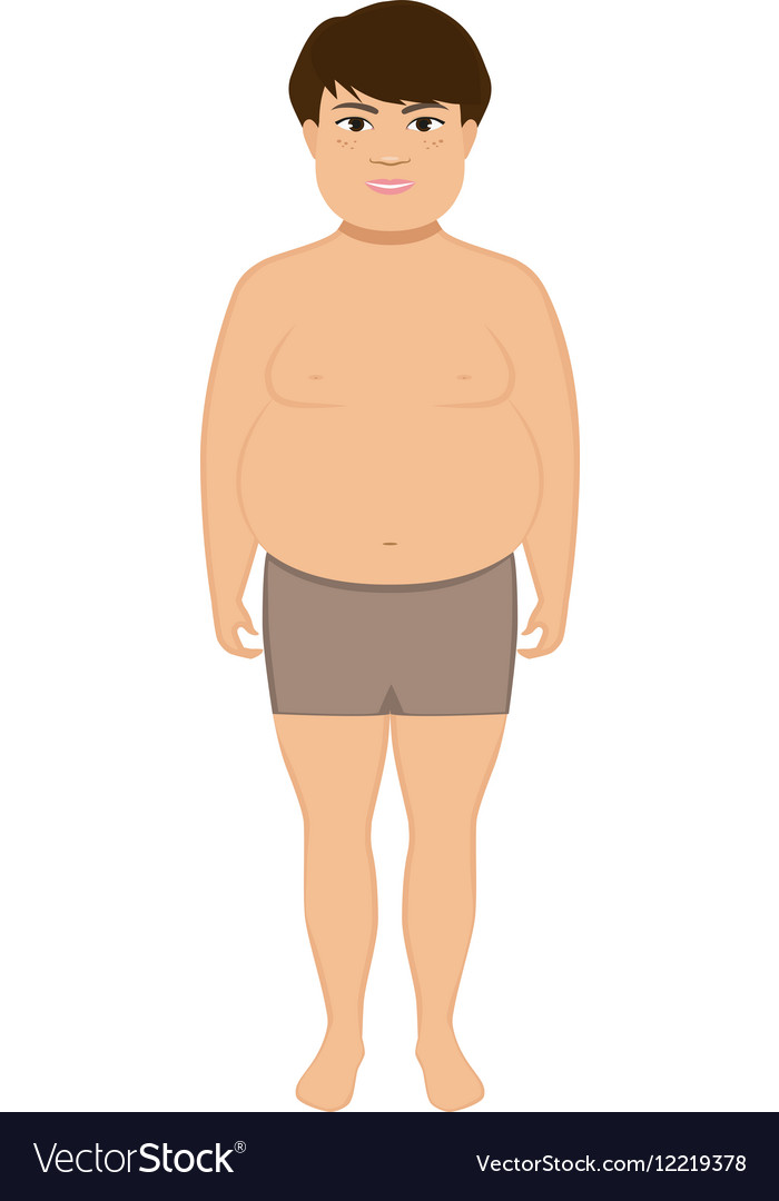Cartoon little cute fat boy vector image