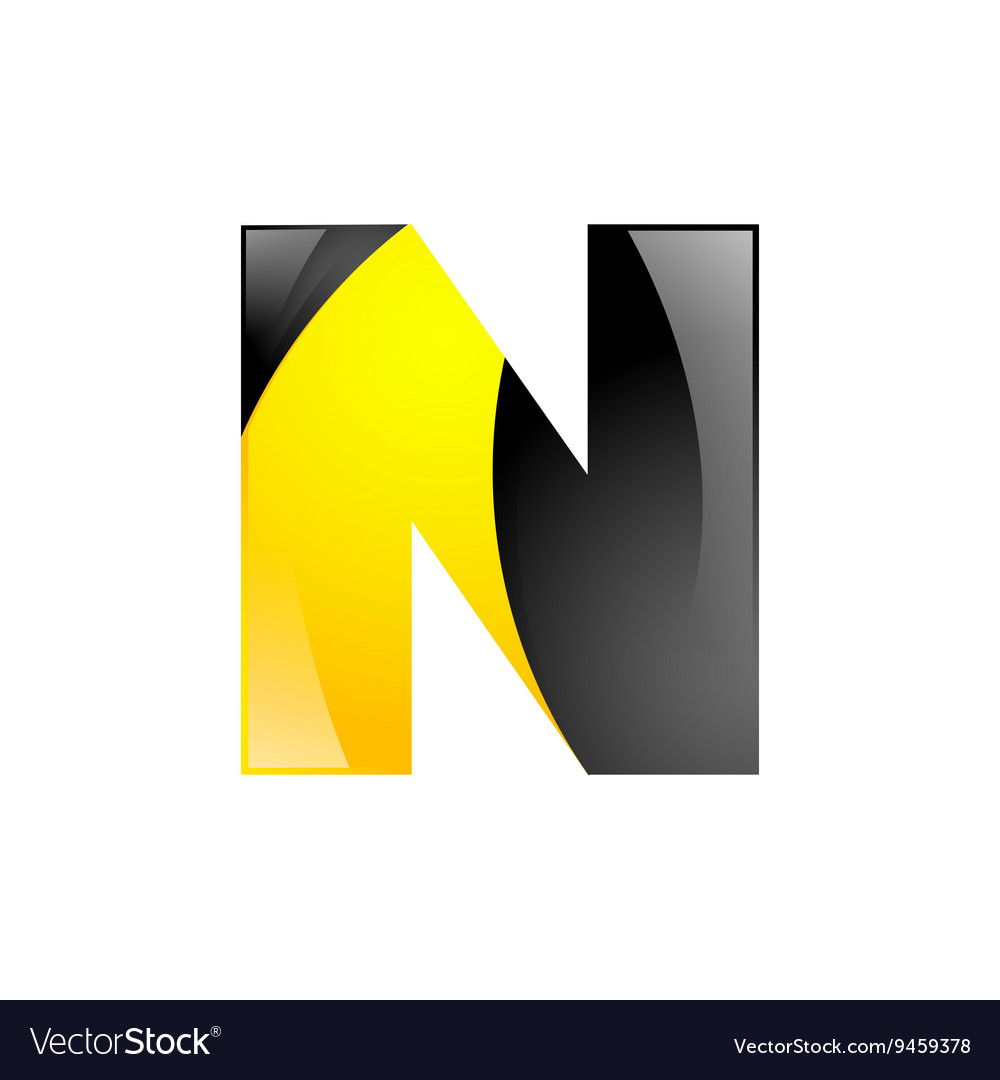 Creative yellow and black symbol letter N for your