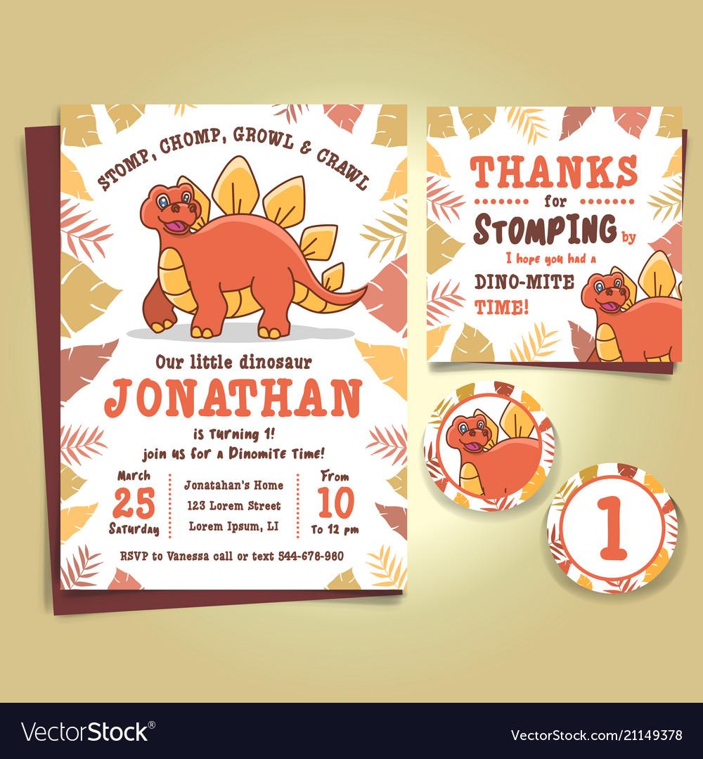 dinosaur birthday party invitation royalty free vector image