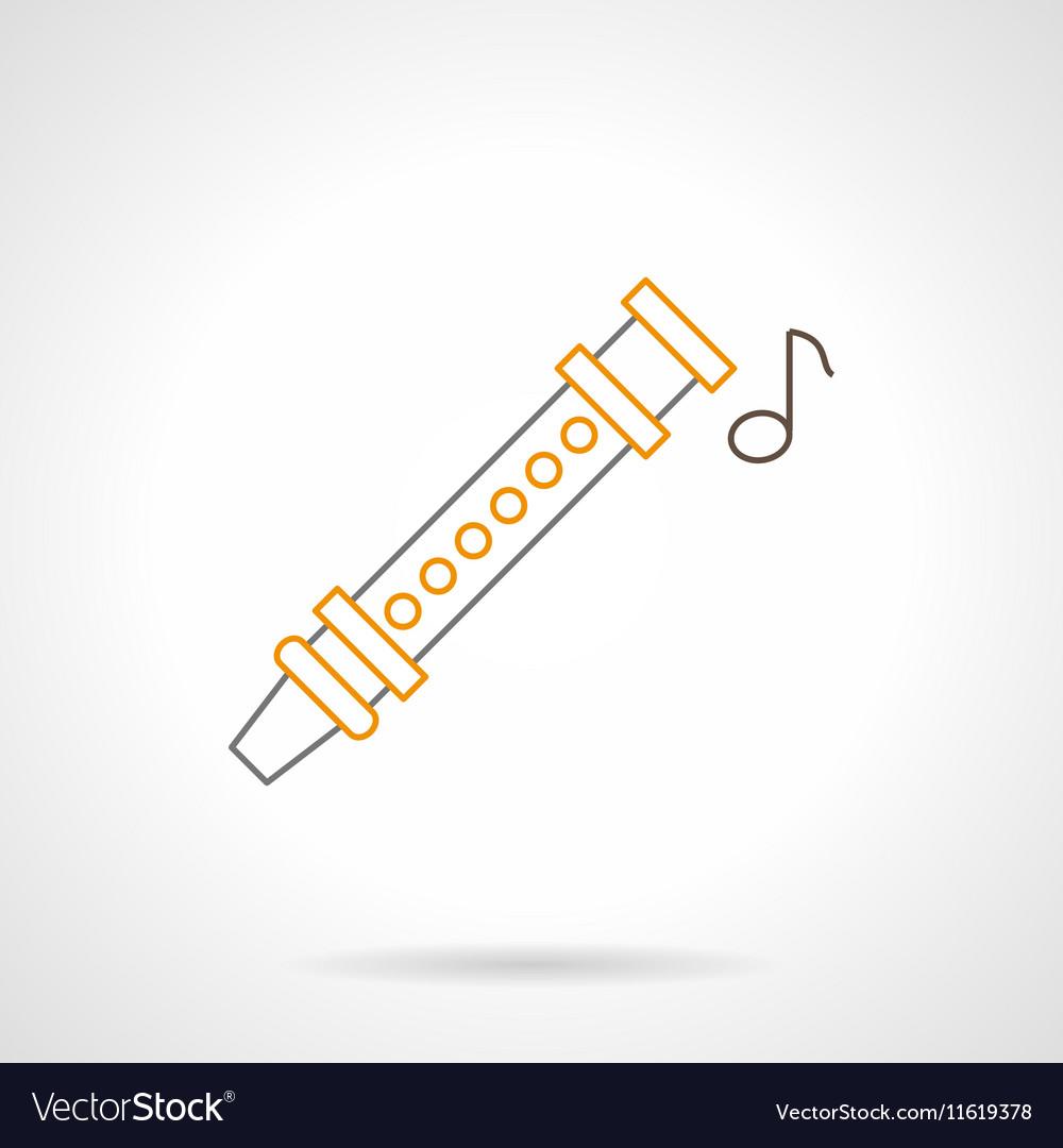 Flute music flat line icon