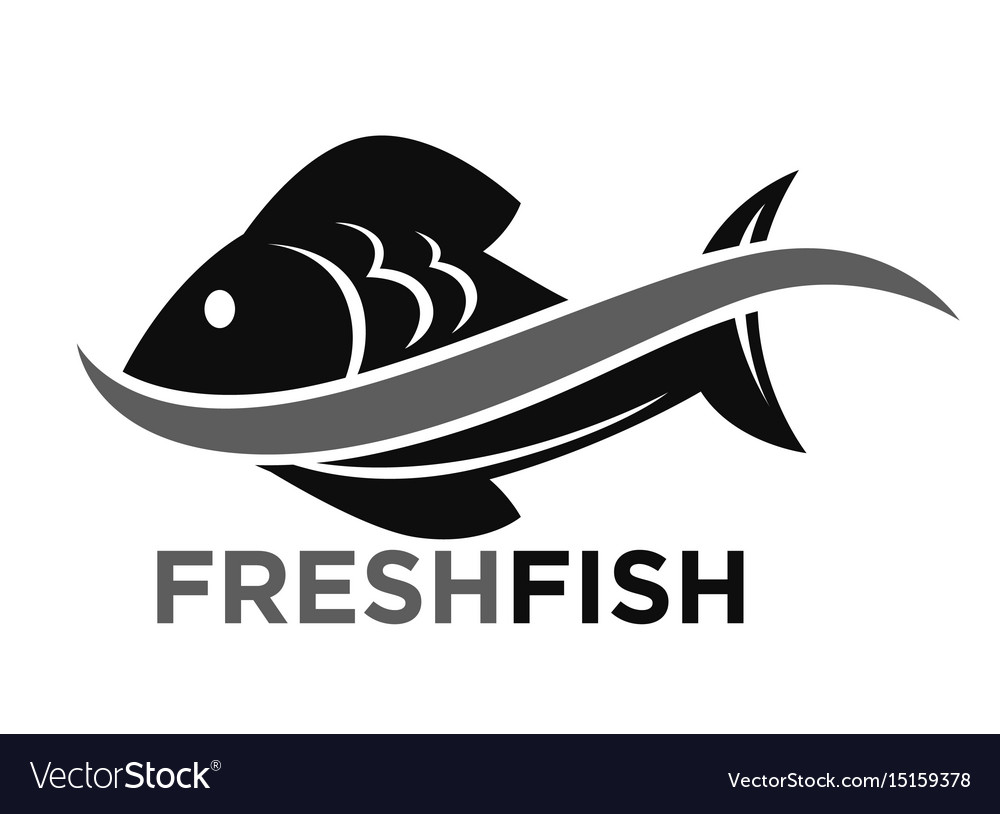 Fresh fish market promotional black and white logo