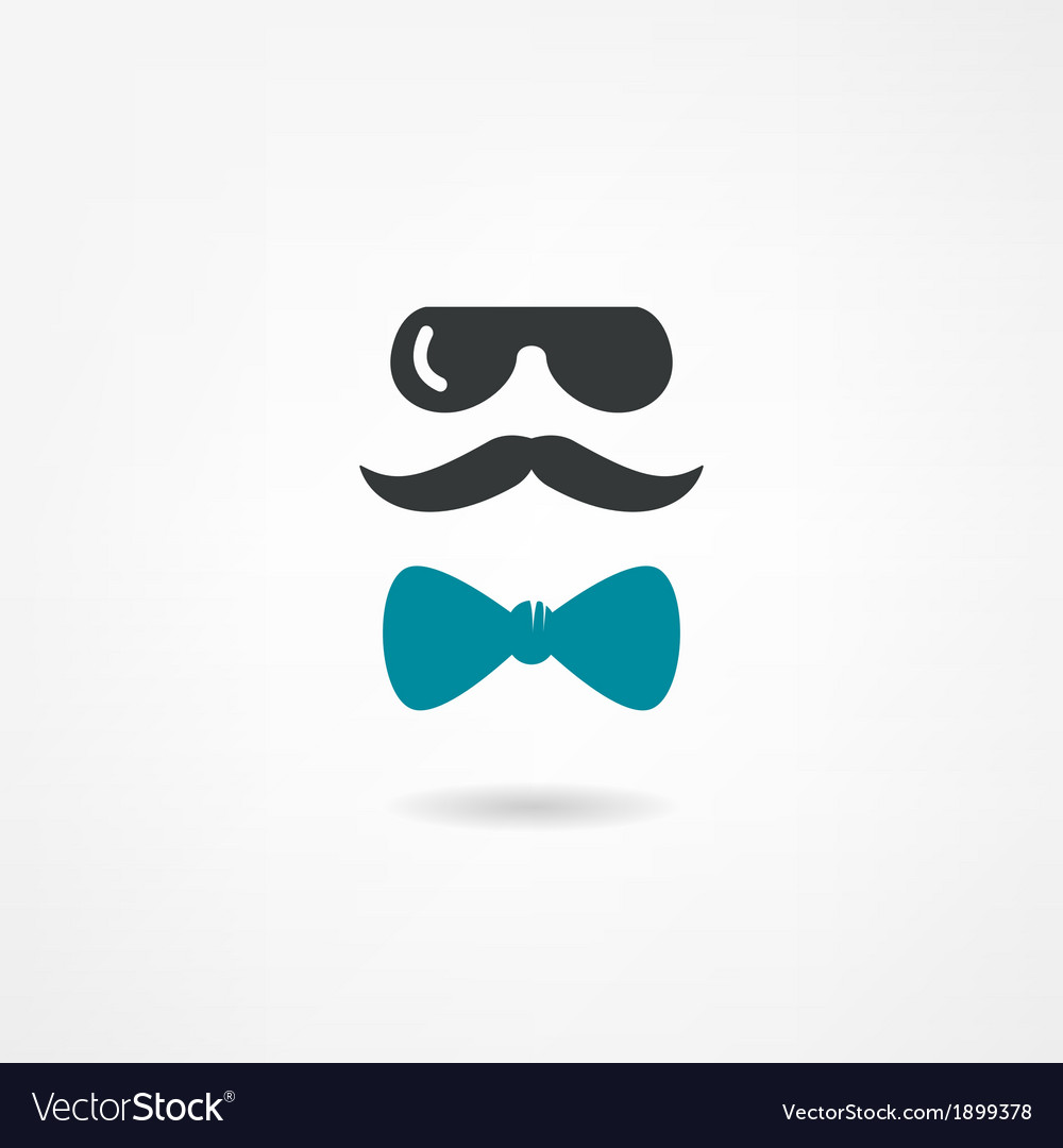 Glasses mustache and a bow tie vector image