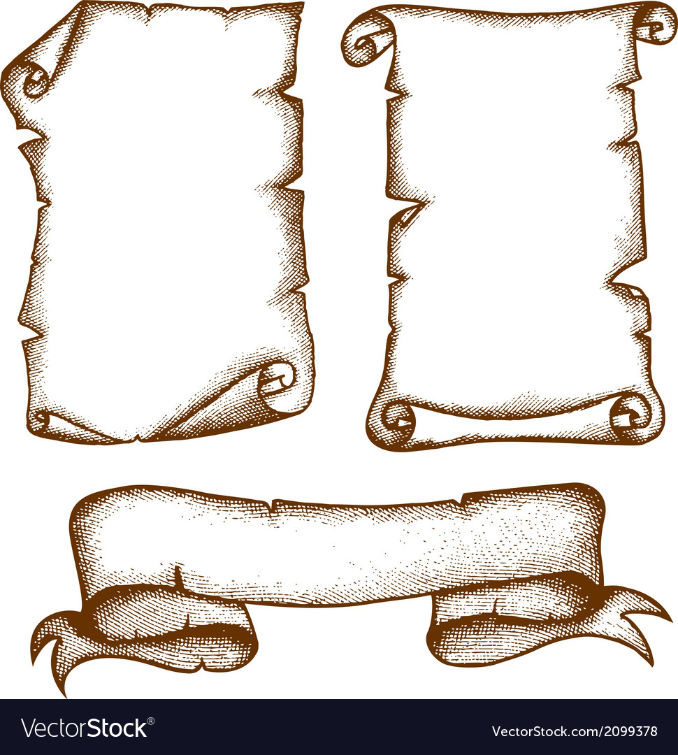 Hand-drawn Scrolls vector image