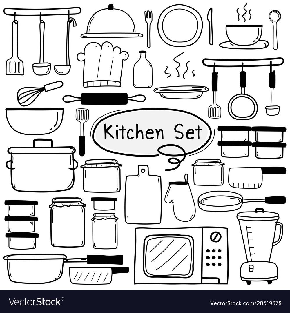 Line hand drawn doodle kitchen set vector image
