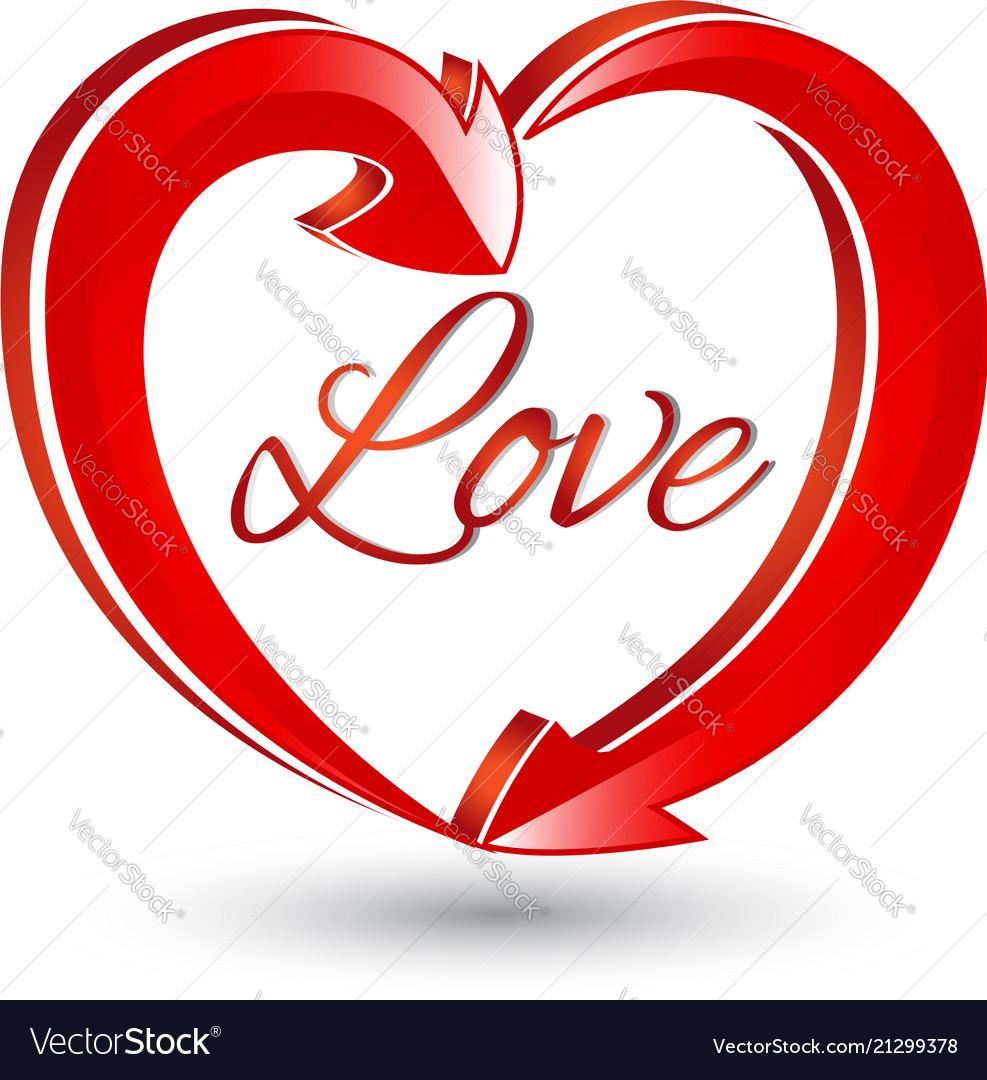Love heart shape arrows icon