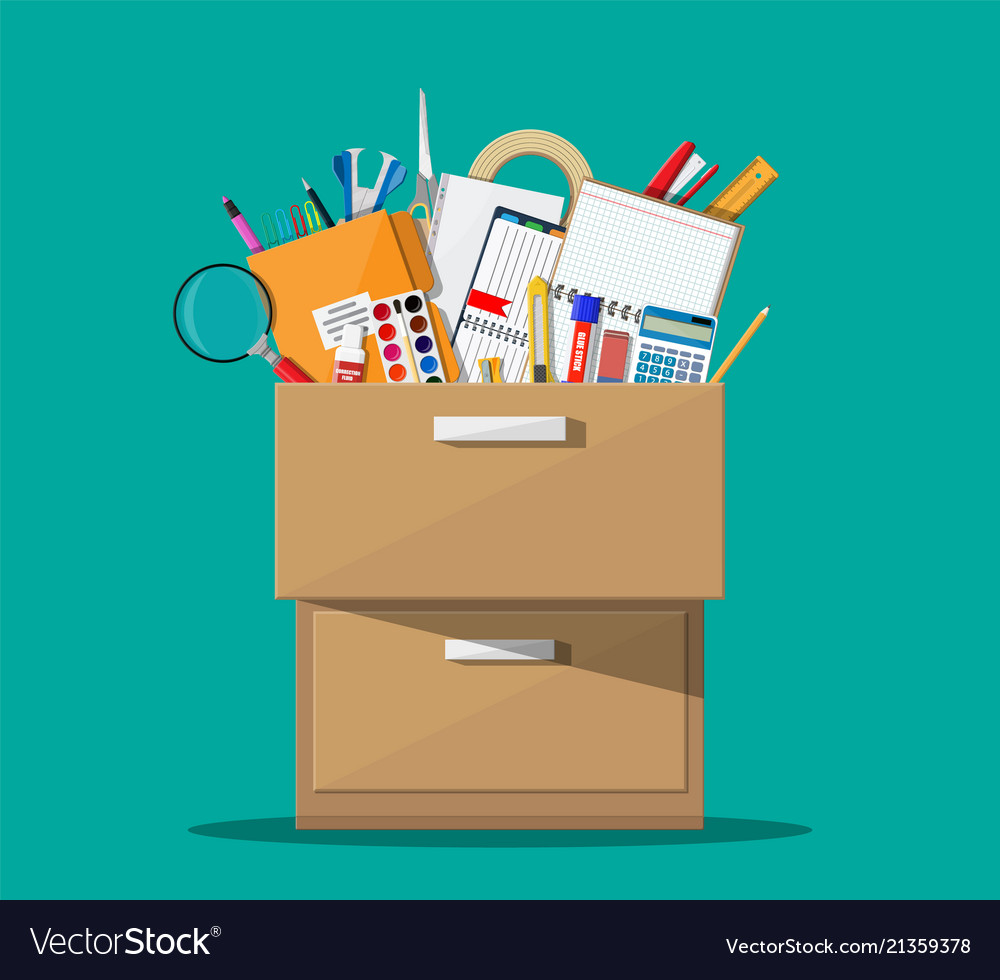 Office Accessories In Wooden Drawer Vector Image