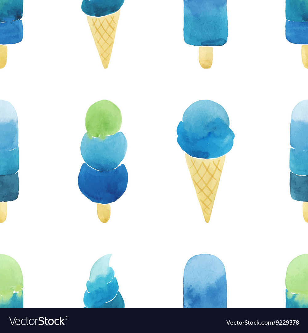 Seamless pattern with hand drawn watercolor ice