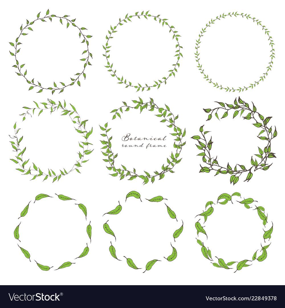 Set of botanical round frame hand drawn flowers
