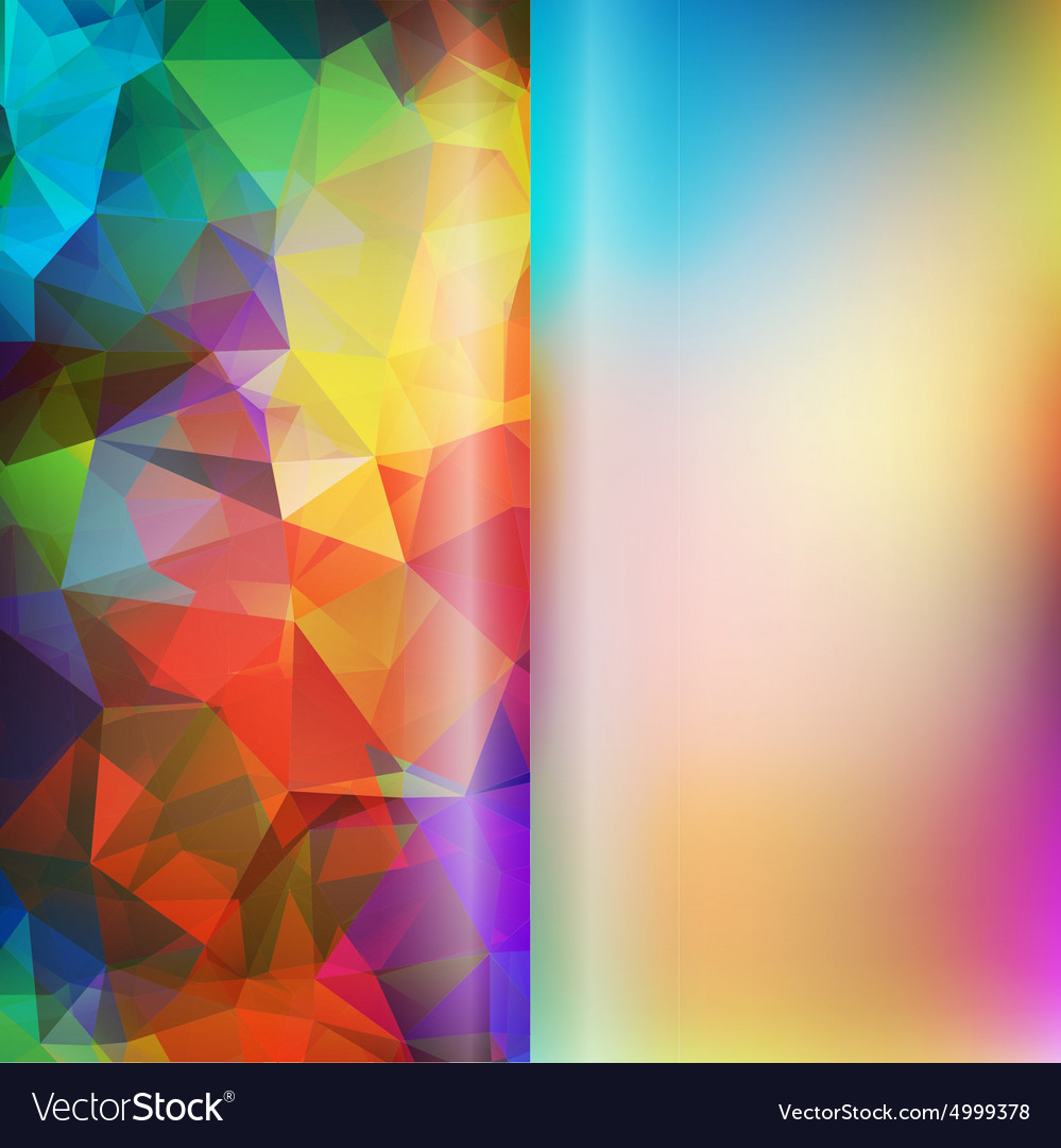 Set of polygon triangles and blurred backgrounds