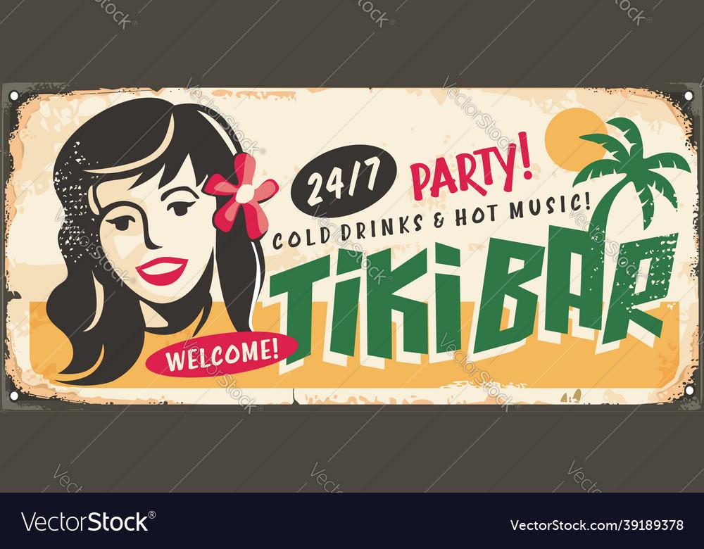 Tiki bar retro sign idea with hawaiian girl