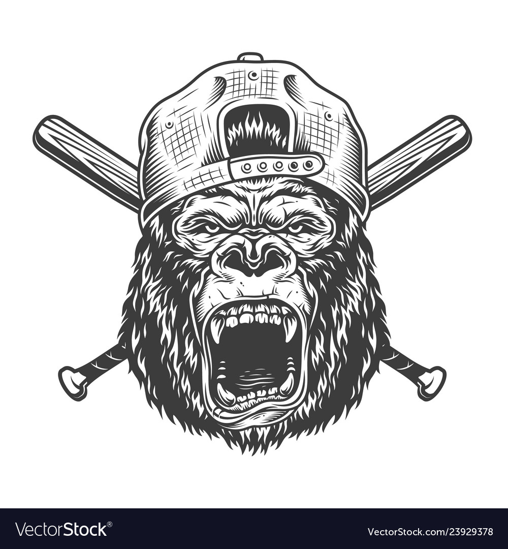 Vintage angry gorilla head in cap