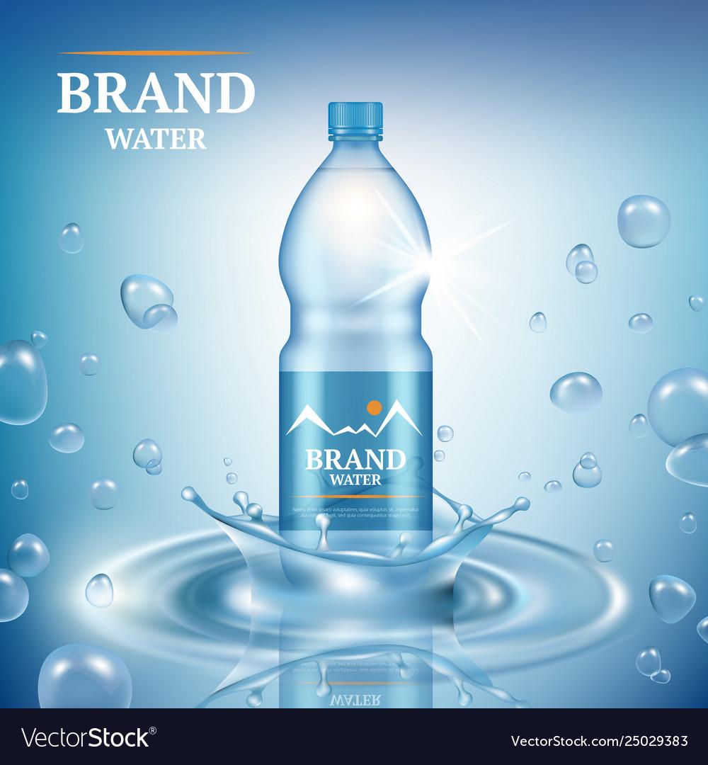 Aqua advertizing natural mineral liquid water