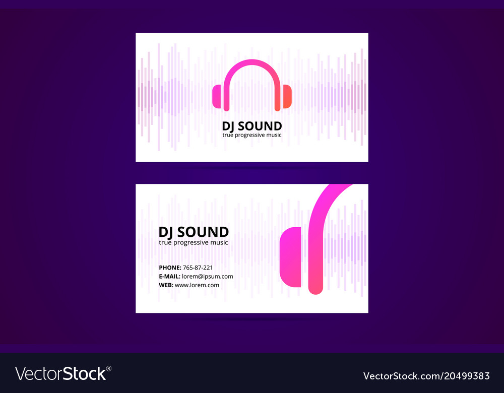 Business card template for dj and music business vector image reheart Choice Image