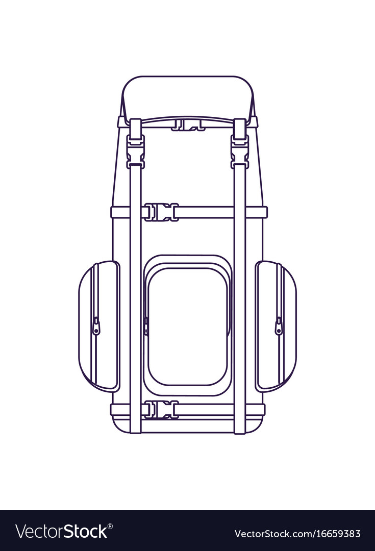 Camping and travel backpack linear icon