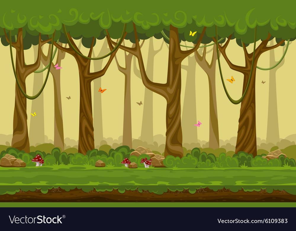 Cartoon forest landscape endless nature