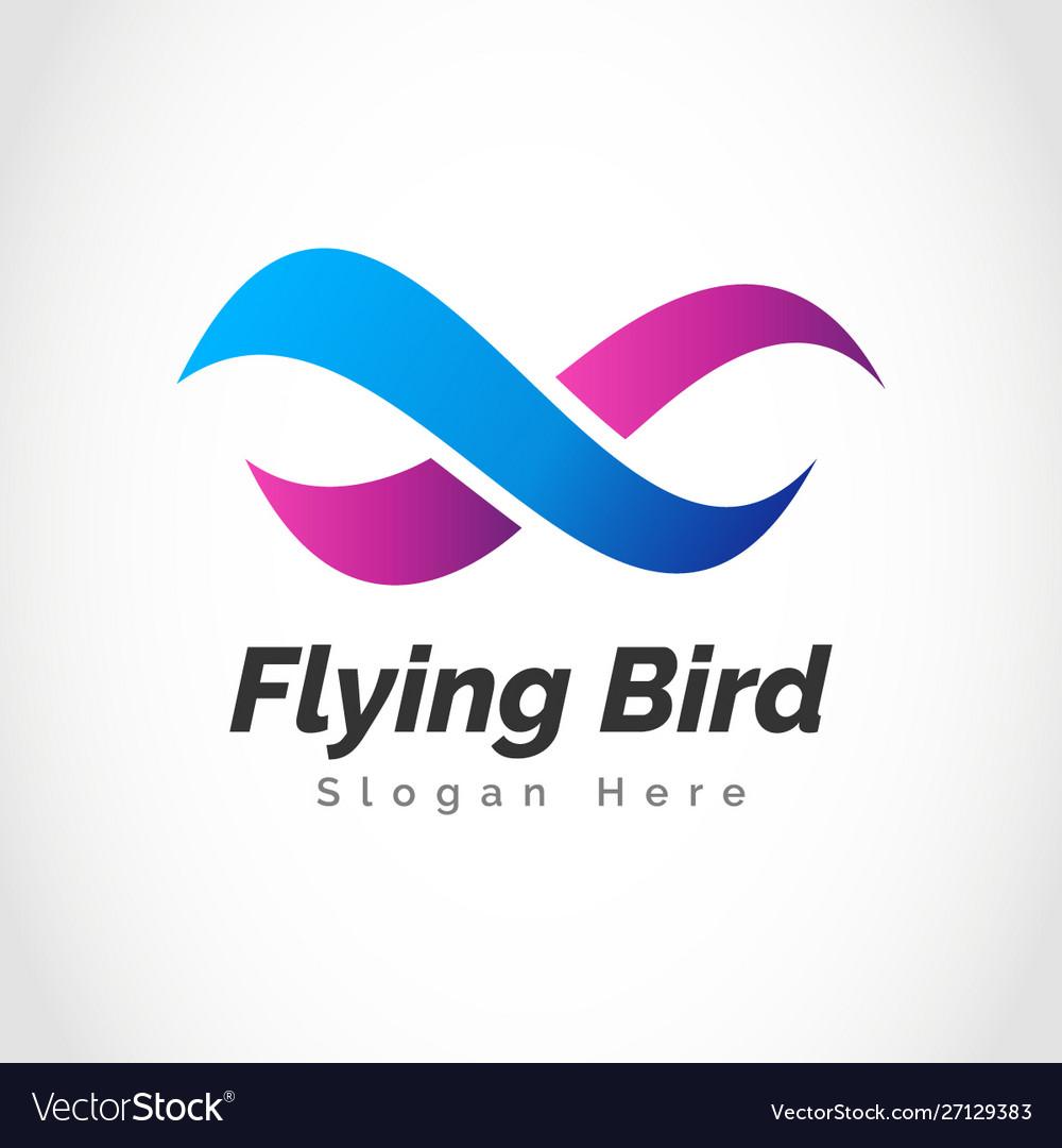 Creative Infinity Bird Fly Freedom Logo Design