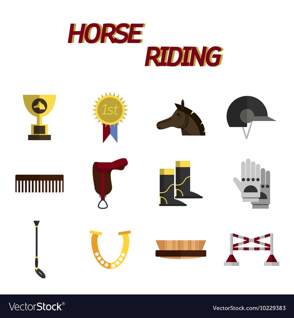 Horse riding flat icon set