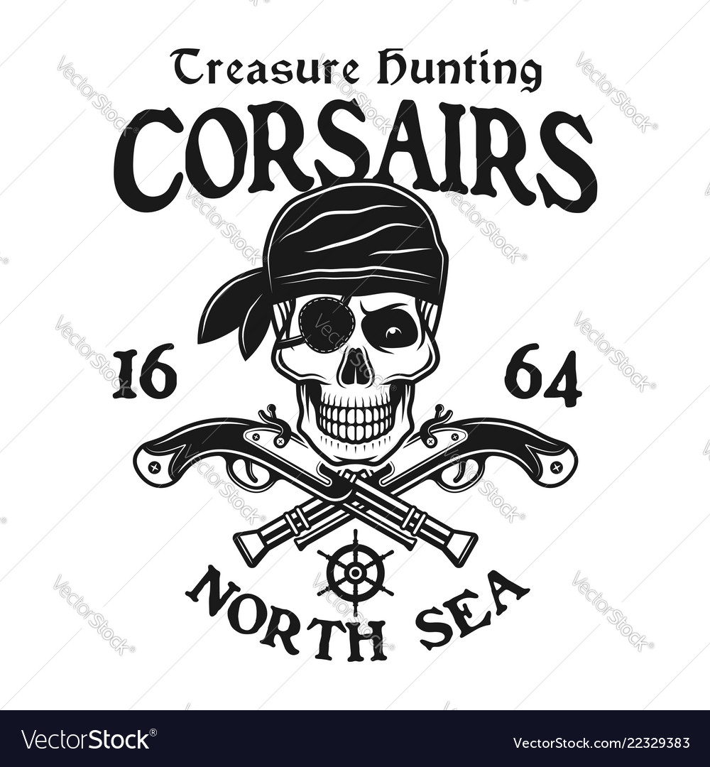 Pirate skull with crossed pistols emblem