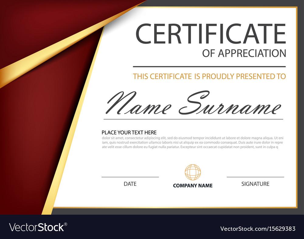 Red Gold Elegance Horizontal Certificate Vector Image