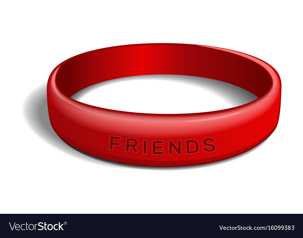 Red plastic wristband with inscription - friends vector image