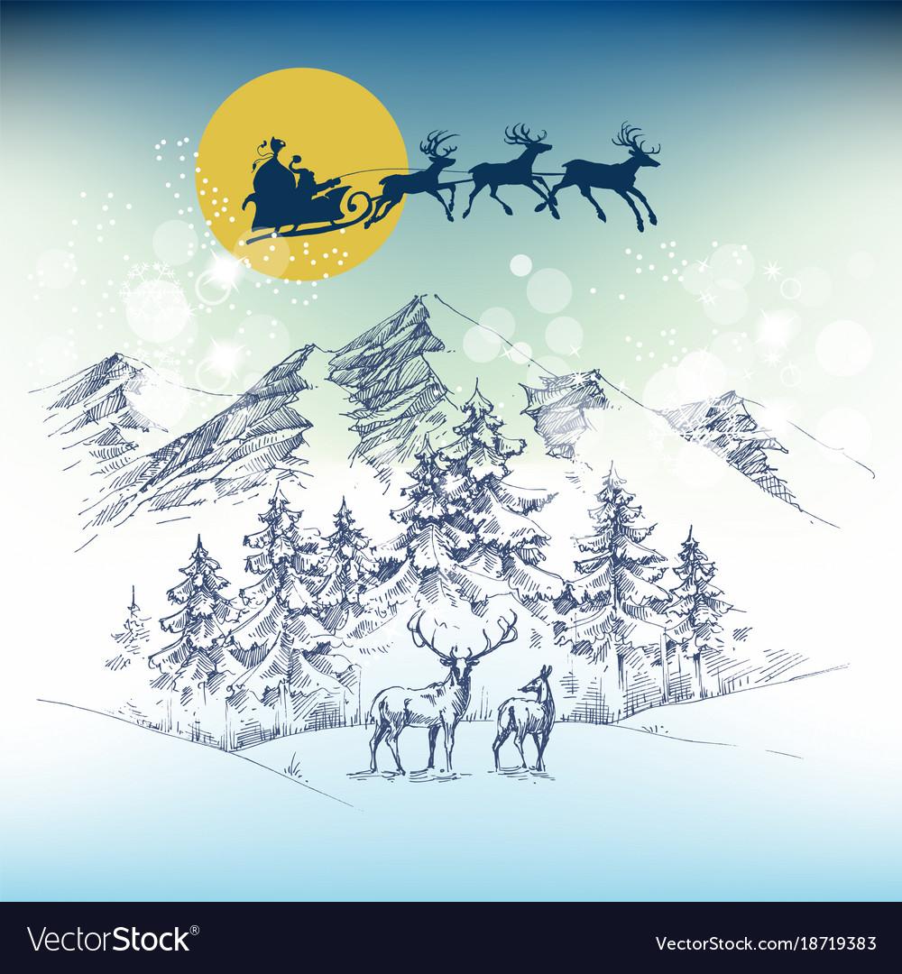 Santas sleigh on christmas night flying over