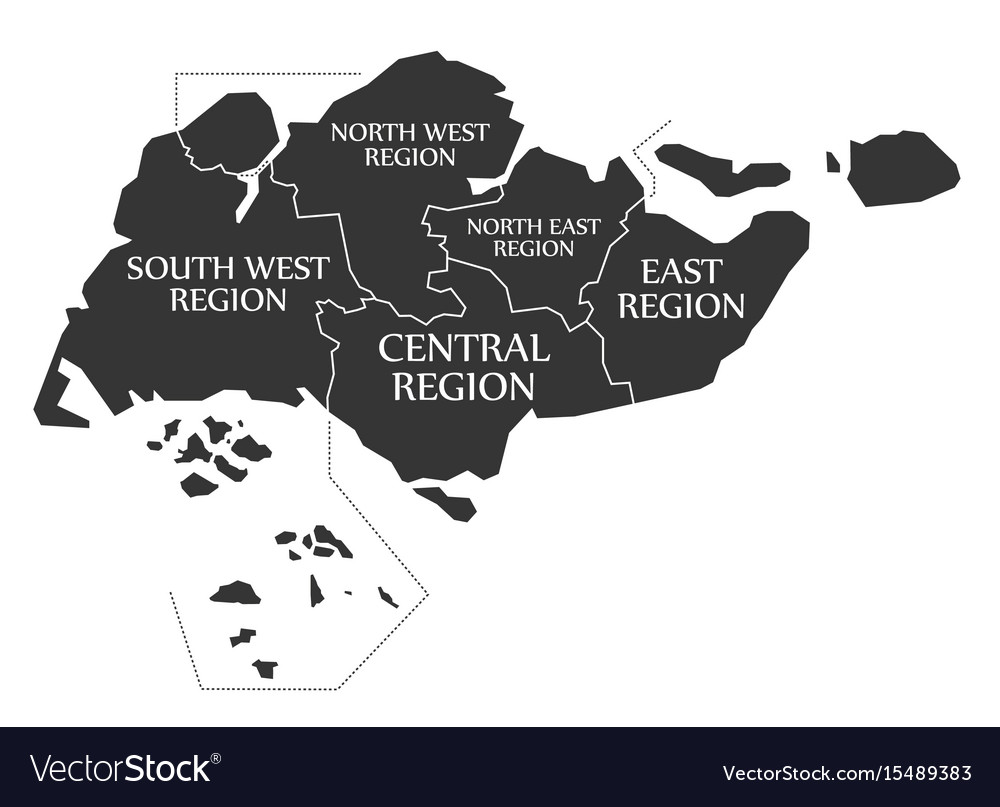 Singapore map labelled black Royalty Free Vector Image