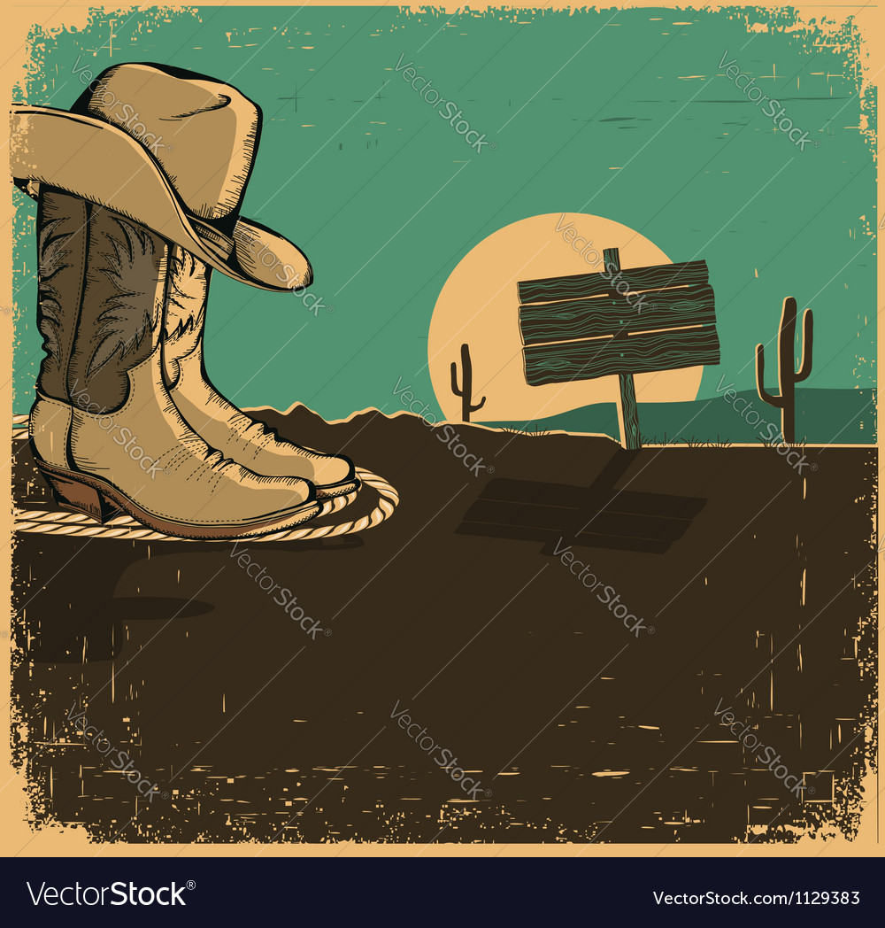 Western with cowboy shoes and desert landscape on