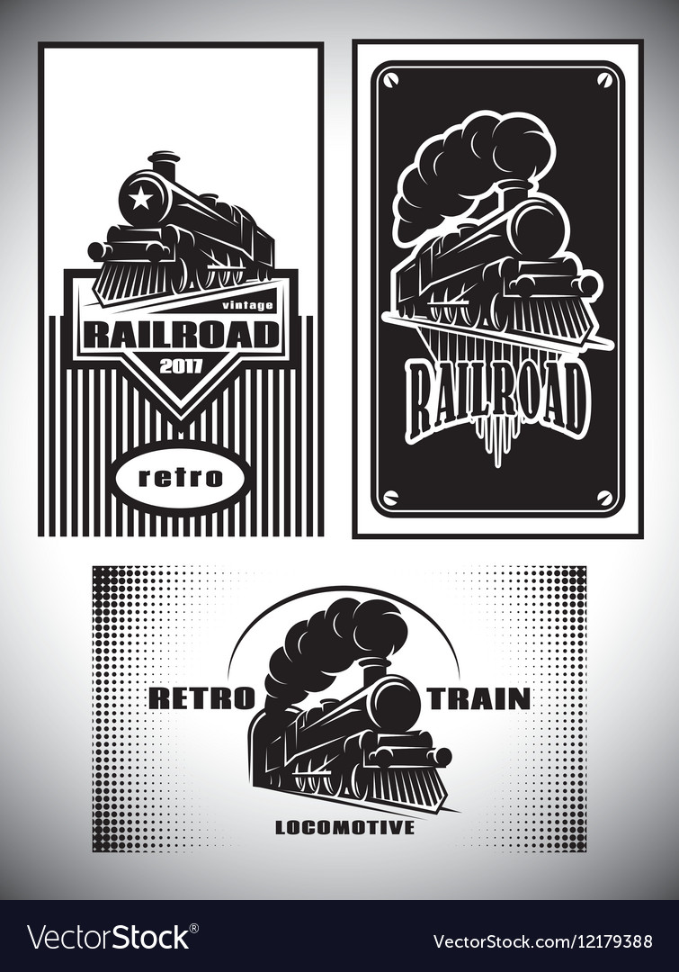Business card template set Vintage steam train vector image