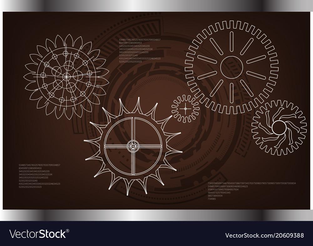 Cogwheels on a brown