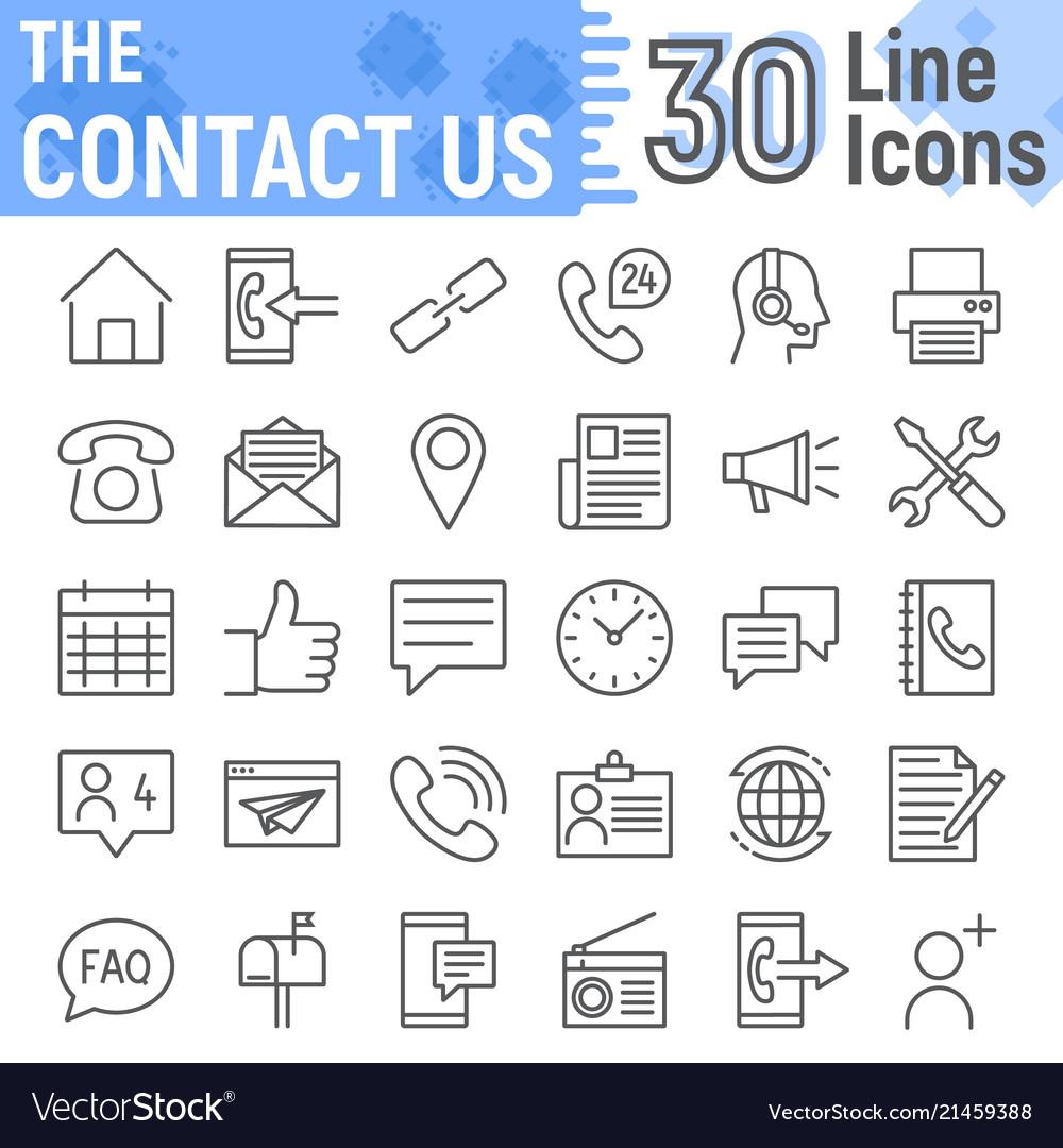 Contact us line icon set web symbols collection