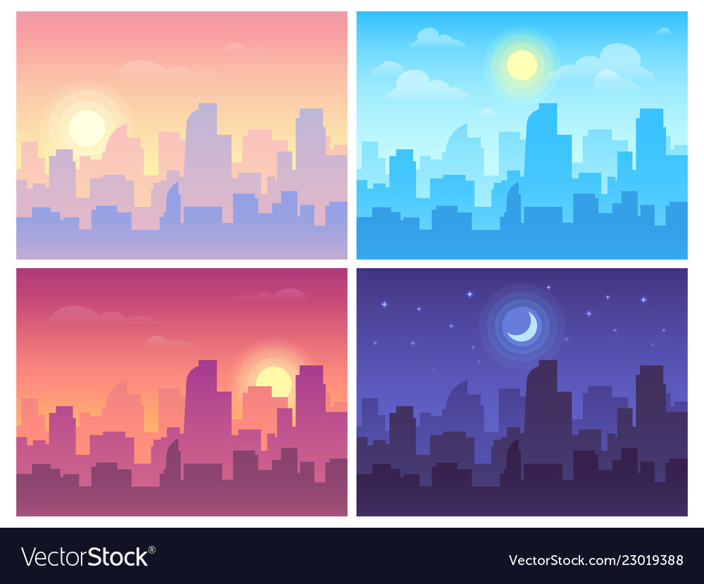 Daytime cityscape morning day and night city