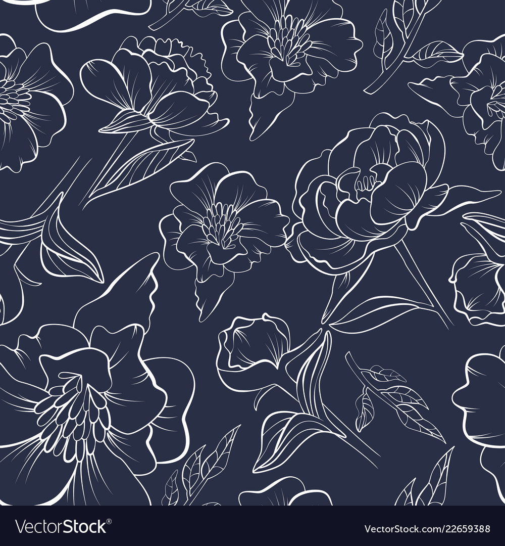 Floral seamless peony pattern drawn in sketch
