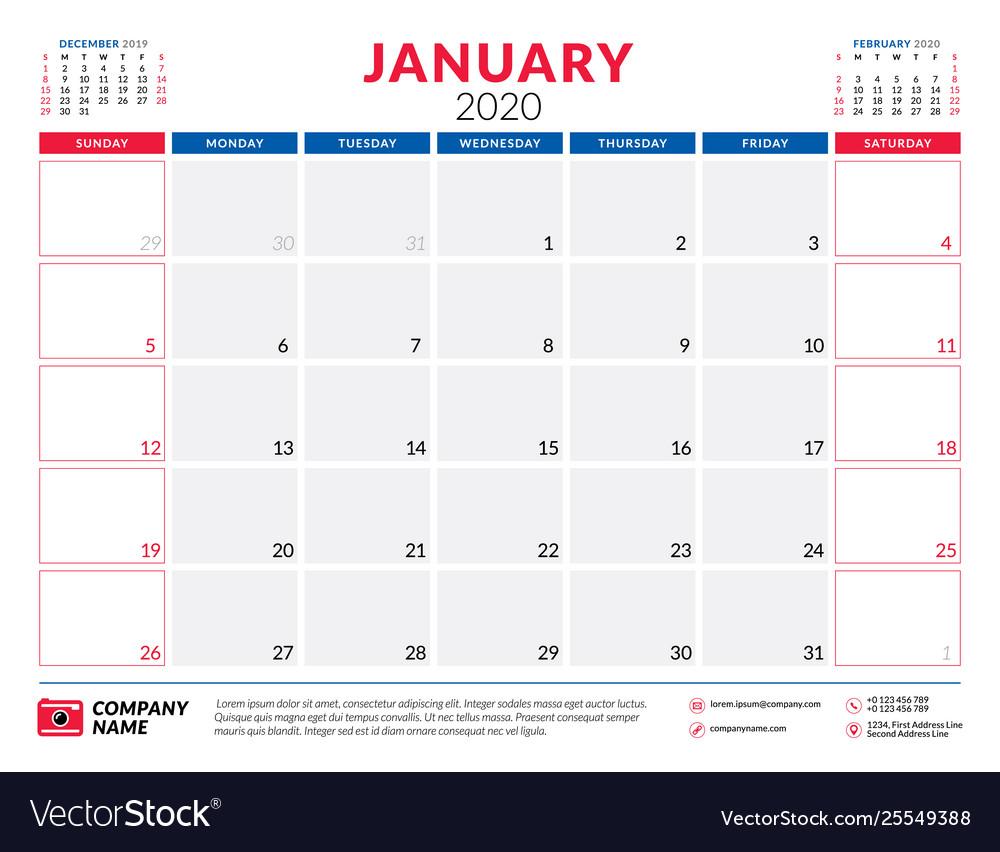 Free Printable January 2020 Calendar Design Typography January 2020 calendar planner stationery design Vector Image