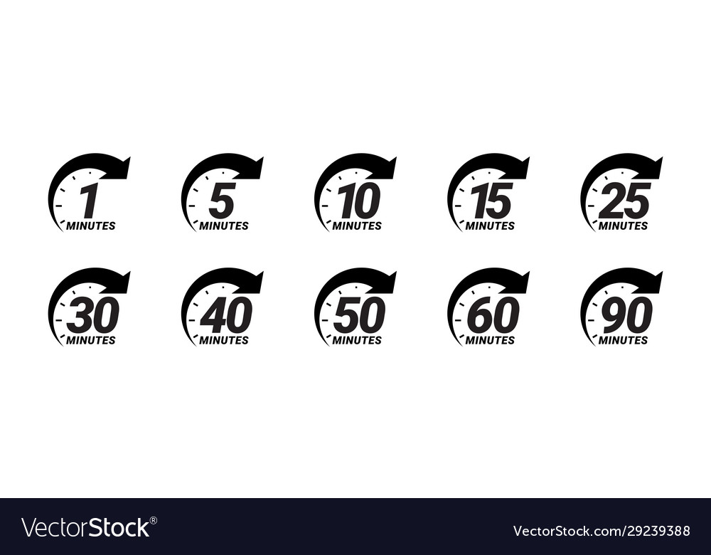 Minute timer icons set