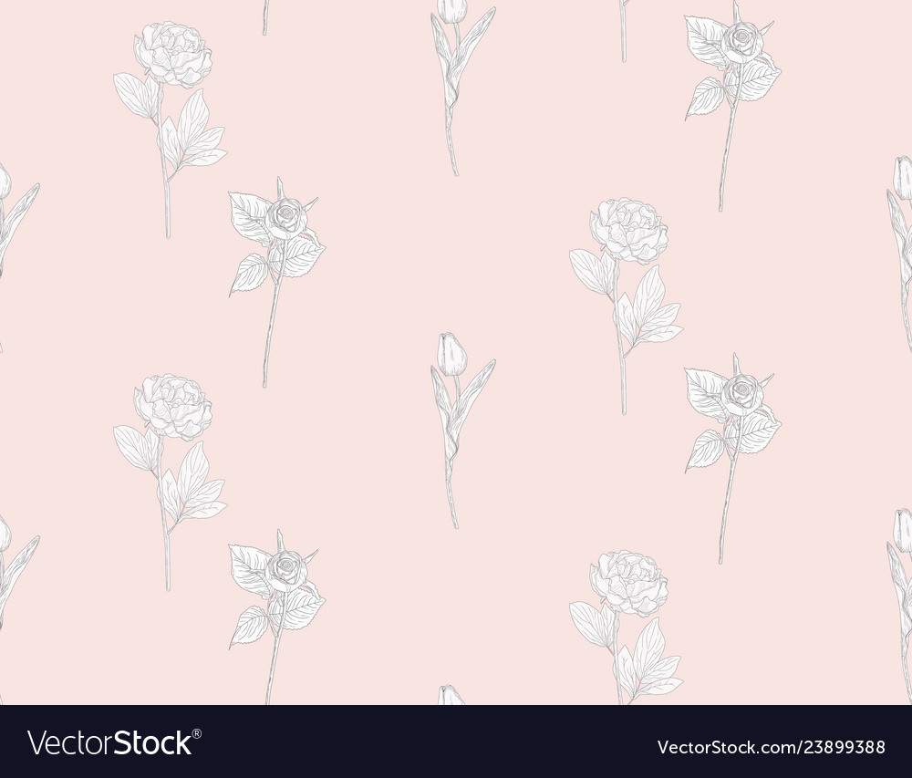 Seamless pattern with drawn flowers plants